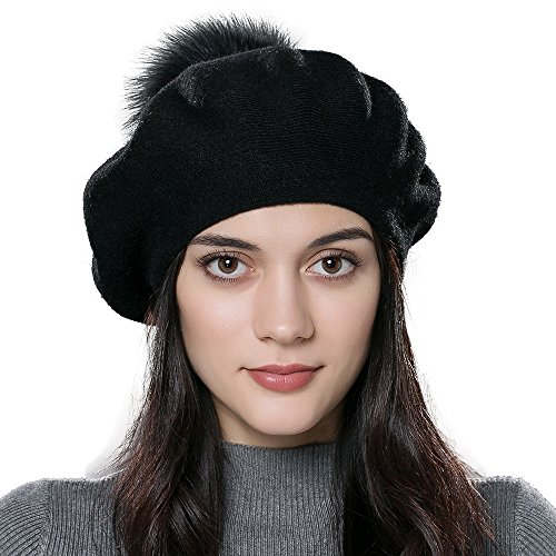 ENJOYFUR Winter Beret Hat Fox Fur PomPom Hat Women Bobble Cap (Black)