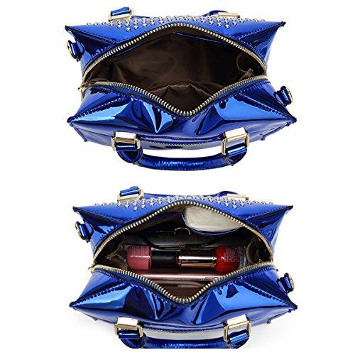 Rivet Leather Handbags with 2018 Summer Boston Women Tisdaini PU Bag Blue Patent Bag Shiny qzzTCX