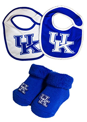 NCAA Kentucky Wildcats Infant Booties and 2 Pack Bib Set (White Game Bibs)