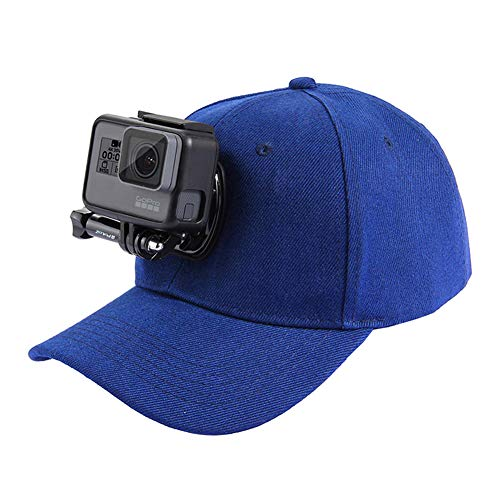 Baseball Hat with Quick Release Buckle Mount Compatible for GoPro 5 Session Hero DJI OSMO Action Cameras Blue