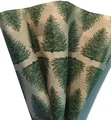 - 240 Sheets Printed Tissue Paper Christmas Spruce Pattern on white