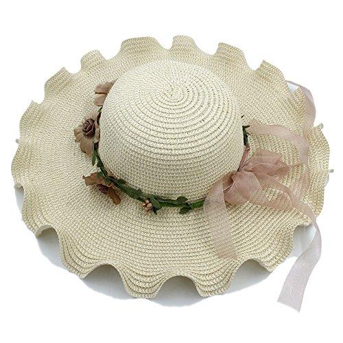 Good Hat Women Ladies Elegant Flower Cap Big Waves Wide Brim Summer Fashion Hawaii Beach Travel Vintage Floppy Straw Hat (Color : Beige, Size : 58cm) by Hu
