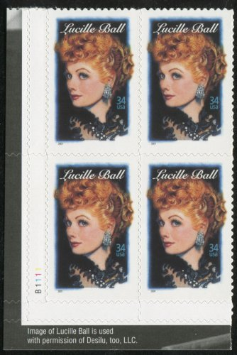 - LUCILLE BALL ~ LEGENDS OF HOLLYWOOD #3523 Plate Block of 4 x 34¢ US Postage Stamps