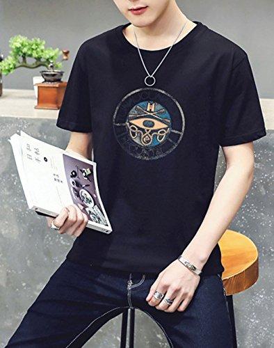 Jovono Fashion Mens Round Neck T-Shirt Printing Casual Short Sleeve Tee Cotton Black Short Tops (XXXX-Large) by Jovono (Image #3)