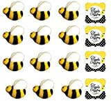 "24pk Bumble Bees 1"" Edible Sugar Decoration Toppers for Cakes Cupcakes Cake Pops w. Edible Sparkle Flakes & Bee Decorating Stickers"