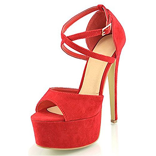 Platform Strap Toe Heel Dress Ankle High Peep Buckle Women's red Snap Crisscross Onlymaker Sandals Stiletto Heeled Party Z XqCRI