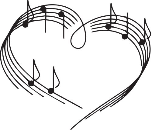 Heart Music Notes Vinyl Sticker Wall Decal
