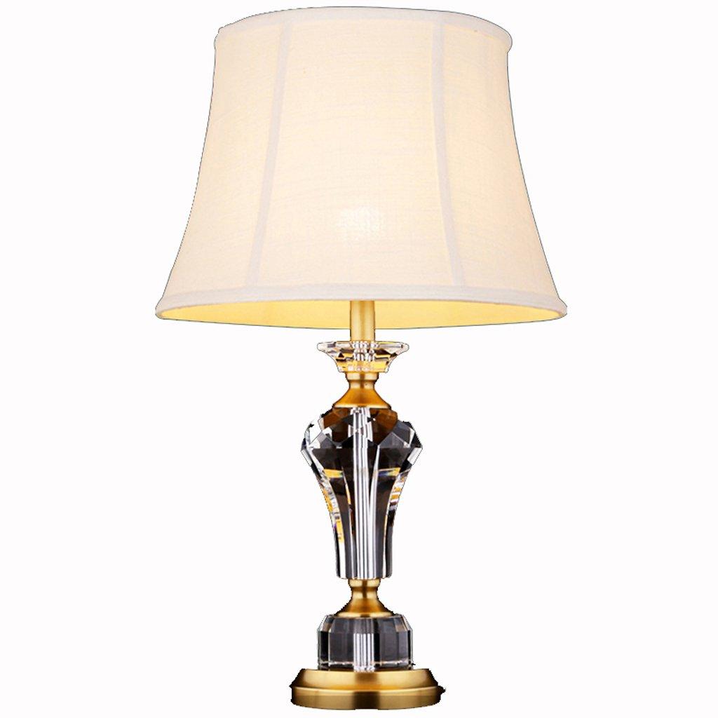 Hanlon E27-Schraubsockel, Tischlampe American Crystal Tischleuchte Studie Nachttisch Copper Lampe Europäische Modern Wohnzimmer Schlafzimmer Dekorative Tischlampe ( größe : Große )