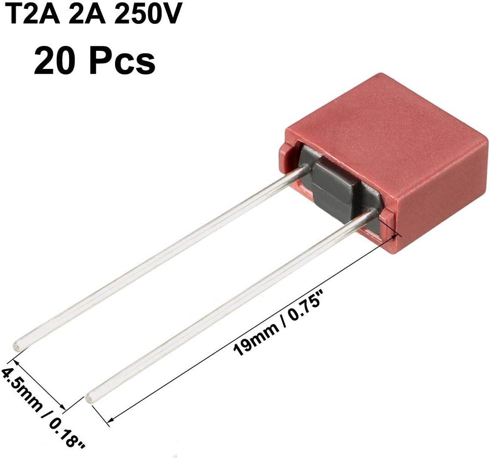 20Stk DIP Halterunged Miniatur Quadrat Mikro Sicherung T2,5A 2,5A 250V rot