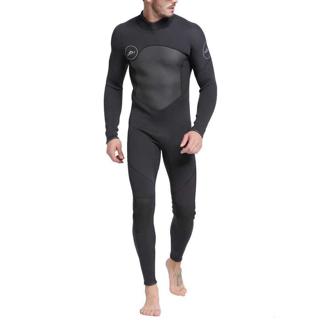 Mens Full Body Wetsuit Swimming Long Sleeve Sport Diving Snorkeling Surfing Scuba Suit Jumpsuit (XXXL, Black)