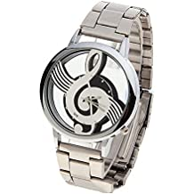 Mens Novelty Musical Note Dial Quartz treble clef Wristwatch With Stainless Steel Band