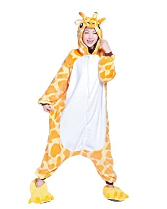 LYLAS Anime Pajamas Pikachu Pokemon Kigurumi Cartoon Hoodie Cosplay Costume (S, Giraffe)