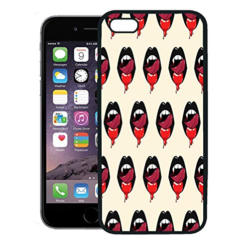 Semtomn Phone Case for iPhone 8 Plus case,Adult Pattern of Vampire Woman Mouth Blood and Licking Tongue Black Lips Halloween Beautiful iPhone 7 Plus case -