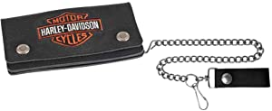 Harley-Davidson Men's Embroidered B&S Trucker Tall Biker Wallet, XML4317-ORGBLK