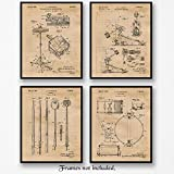 Original Drum Patent Art Poster Prints - Set of 4 (Four) Photos - 8x10 Unframed - Great Wall Art Decor Gifts for Drummers, Musicians, Man Cave, Garage, Boy's Room, School Marching Band, Office.