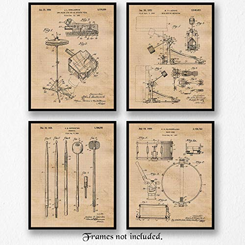 Original Drum Patent Art Poster Prints - Set of 4 (Four) Photos - 8x10 Unframed - Great Wall Art Decor Gifts for Drummers, Musicians, Man Cave, Garage, Boy's Room, School Marching Band, Office. from Stars Arts