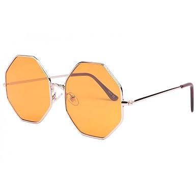 111c384f12dd6 Lunettes de soleil octogonales jaunes Fashion Octy - Mixte  Amazon.fr   Vêtements et accessoires