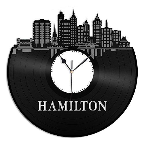 VinylShopUS - Hamilton Canada Vinyl Wall Clock City Skyline Unique Gift Room | Home Decoration