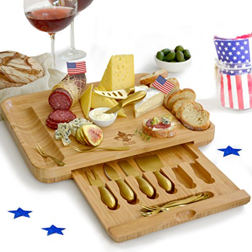 Exquisite Cheese Cutting Board & Knife Set - X-Large Bamboo board (15.75