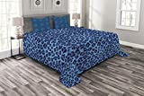 Lunarable Animal Print Bedspread Set Queen Size, Leopard Skin Animal Print Stylized Artistic Design Creative Contemporary Artwork, Decorative Quilted 3 Piece Coverlet Set with 2 Pillow Shams, Blue