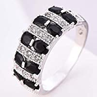 Siam panva Charming 925 Sterling Silver Oval Black Onyx Gemstone Ring Wedding Jewelry Gift (9)