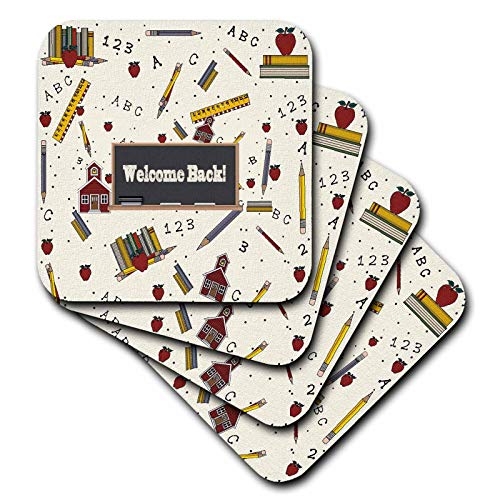 Apple Schoolhouse - 3dRose Beverly Turner Back to School - Welcome Back on Caulk broad, School House, Ruler, Books, Apple, Pencil - set of 8 Coasters - Soft (cst_293728_2)