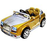 Rolls-Royce Phantom Style 12-volt MP3 Electric Battery Powered Ride On Kids Boys Girls Toy Car RC Parental Remote LED Lights Music Real Paint - Gold