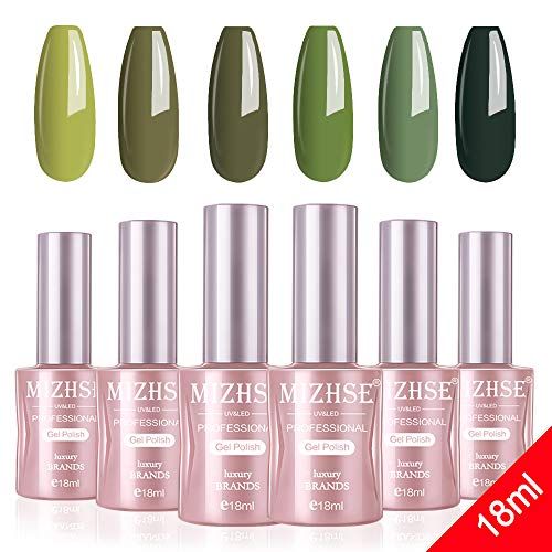 MIZHSE 18 ml Gel Nail Polish Set- Green Nail Gel 6 Colors Olive Neon Green with Gift Box Nail Gel Soak Off UV LED Salon Manicure Starter Kit Bigh Capacity