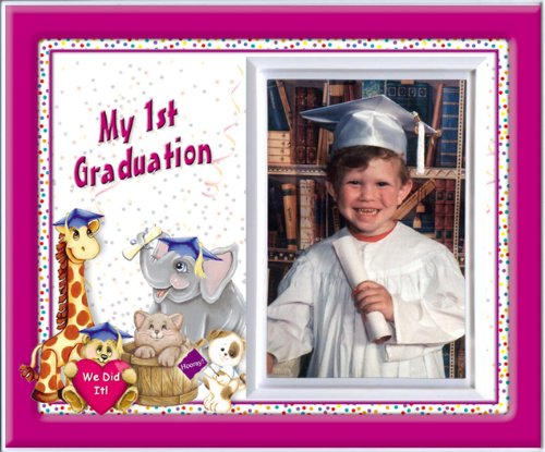 Pre-k Kindergarten Preschool Graduation Picture Frame | Affordable Colorful and Fun | Holds 3.5 x 5 Photo | Keepsake Gift for Parents | Innovative Front-Loading Photo | Friends Design