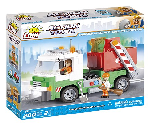 COBI Action Town Garbage Truck with Roll-Off Dumpster