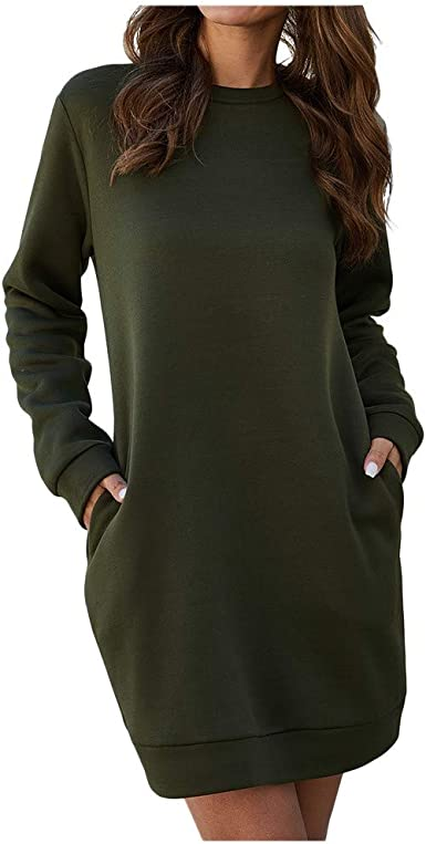 VOWUA Womens Pullover Dress Sweatshirt Solid Long Sleeve Crew Neck Tunic Tops with Pocket