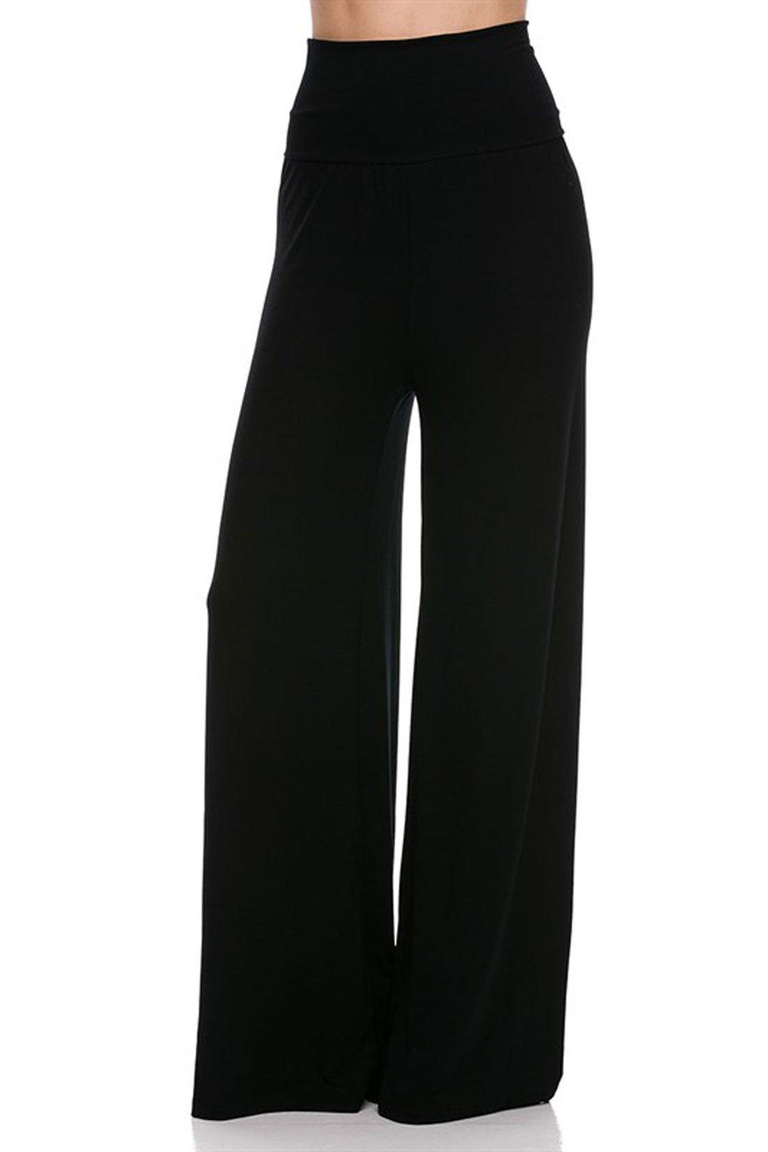 Women's High Waist Slinky Stretchy Palazzo Pants Small Black Modal