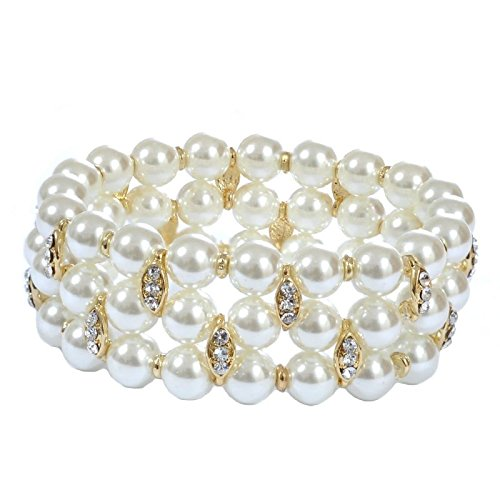Topwholesalejewel Bridal Bracelet Gold Crystal Rhinestone Accents on White Pearl 3 Strand Row Stretch Bracelet