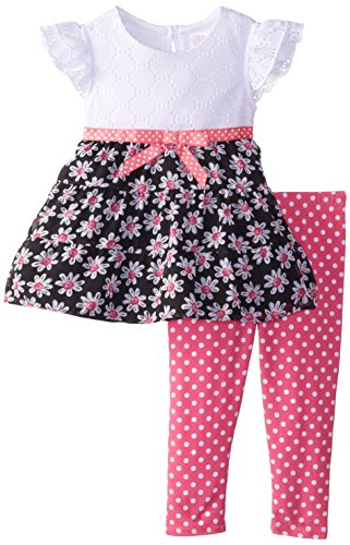 Youngland Baby Girls' Crochet and Daisy Dress with Polka Dot Legging, Black/White/Pink, 12 Months