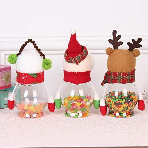 Mackur Navidad Serien Caja Papá Noel, Reno, muñeco de Nieve Forma Plástico Caja de Regalo Caja de Bombones Caramelos latas 25 cm * 10 CM 1 Pieza, plástico, ...