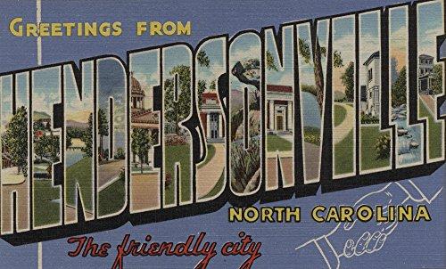 - Hendersonville, North Carolina - Large Letter Scenes (16x24 Fine Art Giclee Gallery Print, Home Wall Decor Artwork Poster)