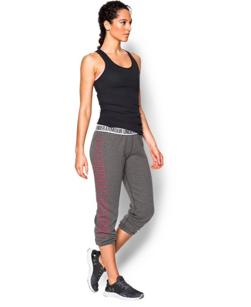 Under Armour Women's UA Fleece Capri, Carbon Heather/Harmony Red, MD (US 8-10) X 22 by Under Armour (Image #3)