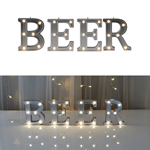 Office Bar Beer - DELICORE Decorative Illuminated Marquee Word Sign (Silver Color 4.21