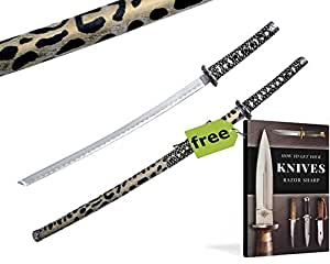"40"" Katana Samurai Ninja LEOPARD Carbon Steel Collectible Carbon Steel Razor Sharp Blade Sword Knife + Free eBook by SURVIVAL STEEL"