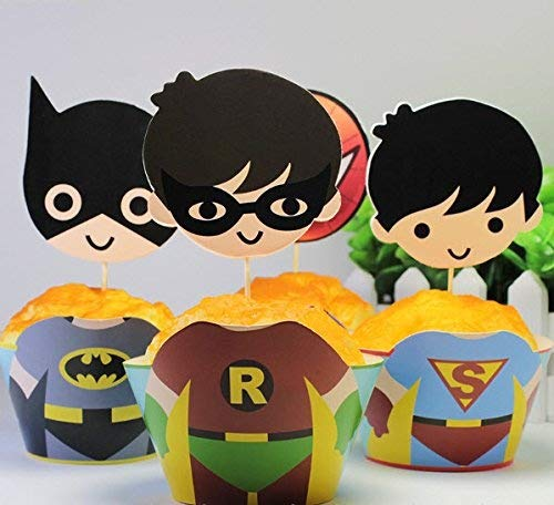 High Street Secrets 12 niños superhéroes Fiesta de cumpleaños Decoración para Tarta para Cup Cake Envoltura & Toppers