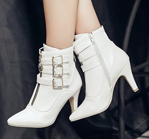 Aisun Damen Schnallen Reißverschluss Stiletto Stiefelette Ankle Boots Weiß