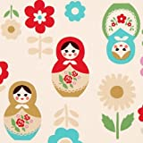 beige big babushka fabric matryoshka dolls Kokka (per 0.5 yard multiples)