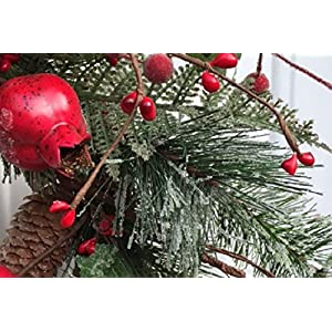 Adirondack Crabapple Winter Wreath 22 Inches Handcrafted With Bright Red Apples Artificial Greens And Pine Cones Hang On The Front Door For The Winter Holiday Season 2