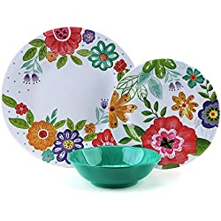 12 Pcs Melamine Dishes Set - Yinshine Unbreakable Modern Dinnerware Set for 4, Dishwasher Safe