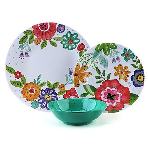 12 Pcs Melamine Dishes Set - Yinshine Unbreakable Modern Dinnerware Set for 4, Dishwasher Safe