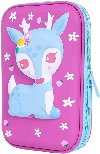 Estuches para lápices con diseño de ciervo de dibujos animados para niños, gran capacidad, estuche para estudiantes de EVA, color morado 23 * 16 * 4cm/9.06 * 6.3 * 1.57