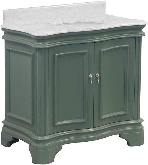 Katherine 36-inch Bathroom Vanity Carrara/Sage Green : Includes Sage Green Cabinet