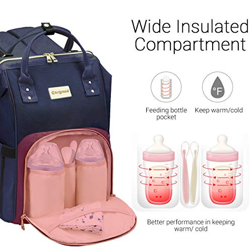 Diaper Bag Backpack, COSYLAND Mom Travel Backpack Nappy Bags Large Capacity Maternity Bag with USB Charge Port Stroller Strap Wide Shoulder Strap Insulated Pockets Navy Blue