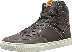 Levis Men's Jeffrey Hi Casual Fashion Sneaker, Black/Indigo, 9 M US