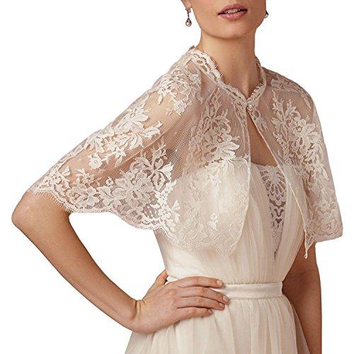 ABaowedding Embroidered Lace Shrug Shawl Wrap Bolero Wedding Jacket for Bride (M, White) ()